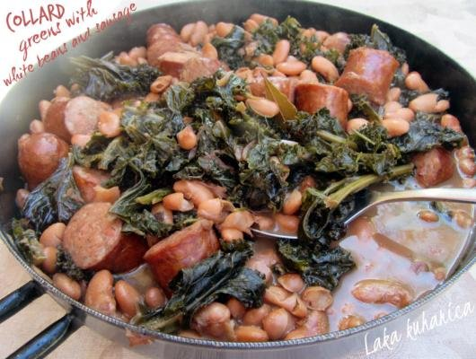 Collard greens with white beans and sausage