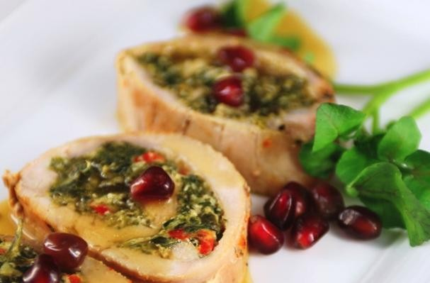 Roast Pork Florentine With Pomegranate Sauce