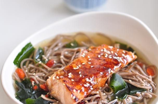 Soba Noodle In Kombu Dashi With Teriyaki Salmon