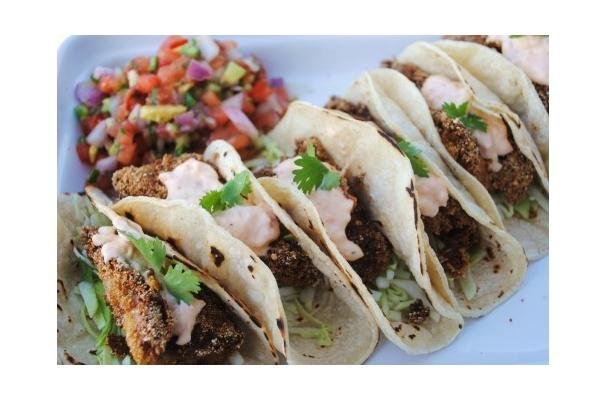 Catfish Tacos With Pimento Cheese Crema and Watermelon Salsa