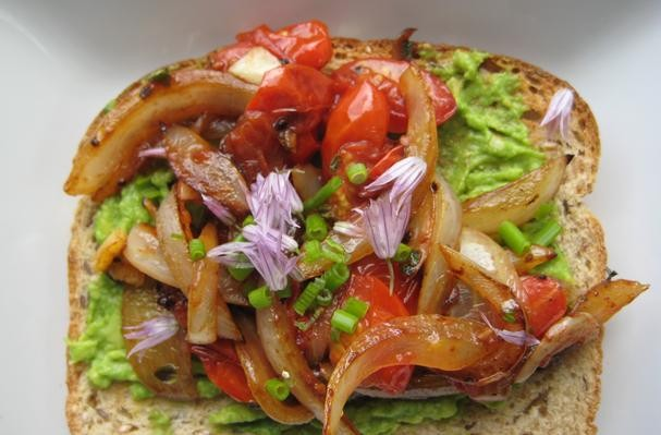 Avocado Toast With Caramelized Sweet Onion, Grape Tomatoes, Fresh Garden Chives and Chive Blossoms
