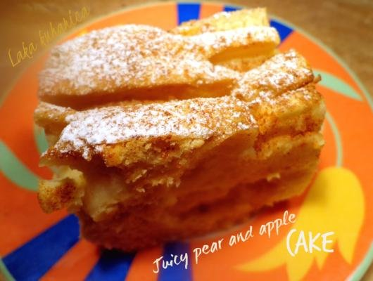 Juicy pear and apple cake
