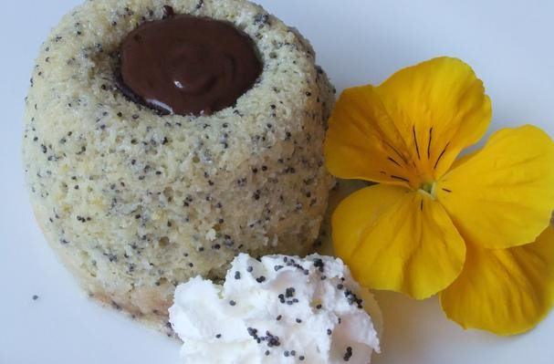 Warm Lemon Poppy Seed Cake With Chocolate Ganache Center