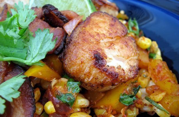 Pan Seared Shrimp & Scallops Over Bacon-Corn-Chile Relish