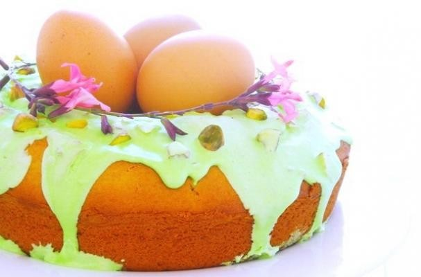 Easter Nest Sweet Cake With Sour Cream-Royal Icing and Pistachios