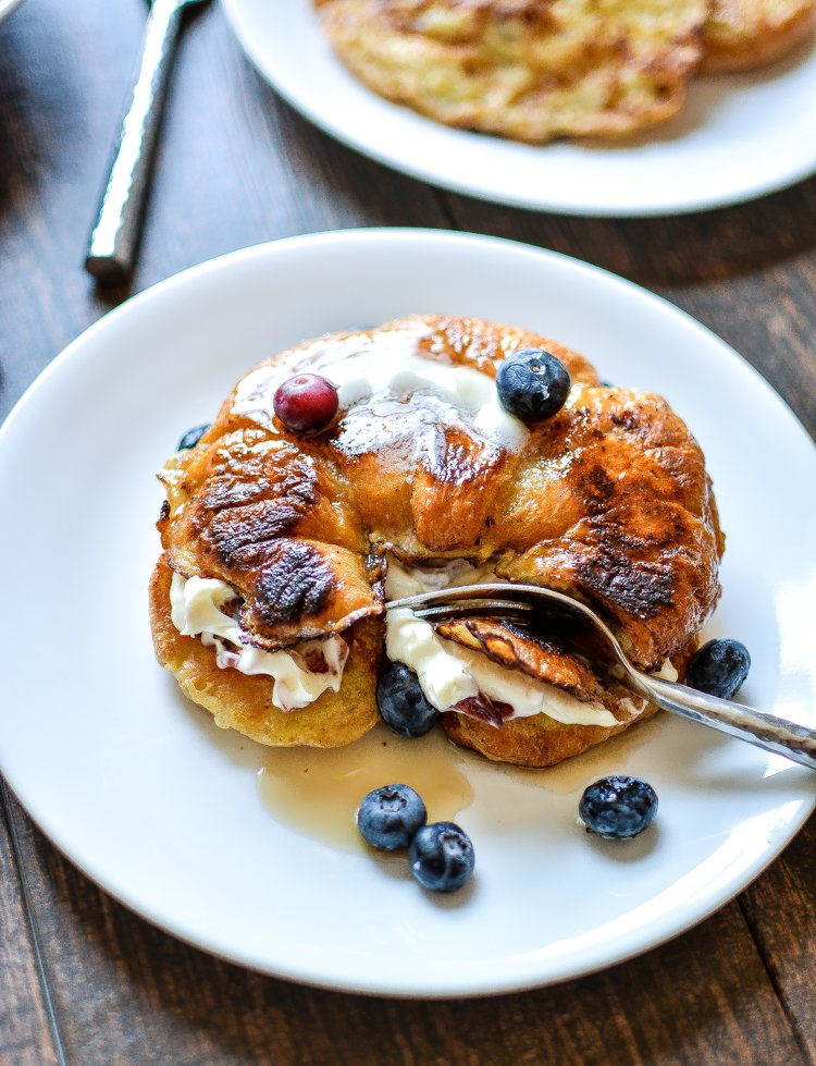 Blueberry Stuffed Croissant French Toast with Bacon